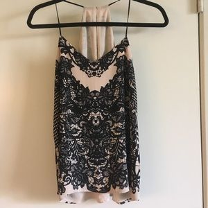 Express Tops - NWT Express Lace Print Barcelona Cami Size XS